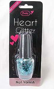 Sweetheart Glitter Heart Green Nail Varnish