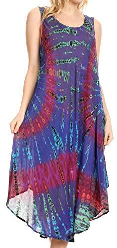 Sakkas 17009 - EULA Boho Sleeveless Tie Dye Long Tank Caftan Sundress/Beach Cover Up - Purple - -