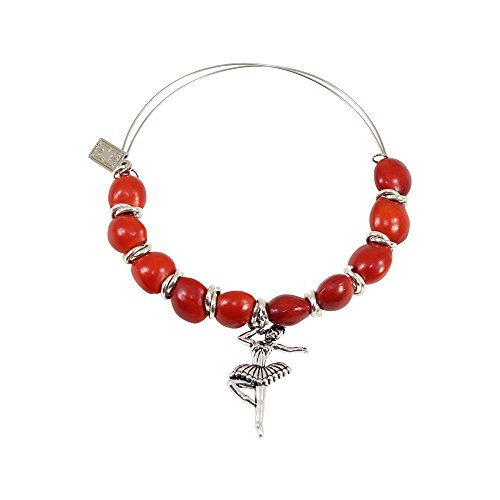 (Ballerina Dancer Gift Bracelet for Women - Huayruro Red Seed Beads, Adjustable Bangle -Ballet Dance Charm - Ecofriedly Handmade Jewelry by Evelyn Brooks)