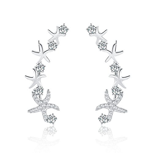 Sports Star Costume Ideas (Mevecco Womens Girls Ear Crawler Climber Star CZ Crystal Ear Wrap Cuffs Earrings Sweep Stud Earring Pin Jewelry-Star3-SL)