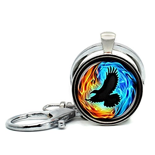 (Keychain Round Pendant Colorful Twin Flames With Raven Glass Cabochon Key Rings Stainless Steel Metal Handmade Charm Pendants)