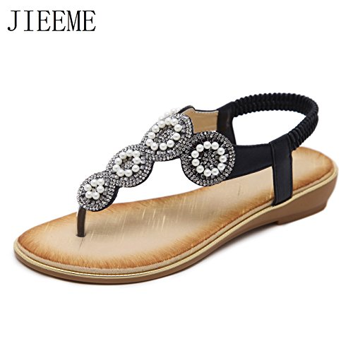 Summer Sandals Beach Gold Flat Black Ladies Casuals Black Sandals Sweet Crystals PU Women JIEEME 5fwxqTW1x