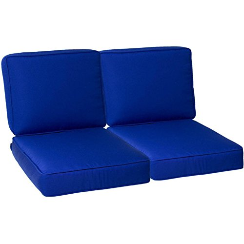 Ultimatepatio.com Medium Replacement Outdoor Loveseat Cushion Set With Piping - Canvas True Blue