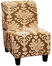 CRFATOP Armless Chair Cover Slipcover Jacquard Stretch Armless Accent Chair Covers Removable Accent Slipper Chair Cover Without Arms for Living Dining Room Hotel