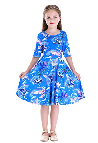 Happy Rose Girls' Cotton Long Sleeve Twirly Skater Party Dress 10 Years