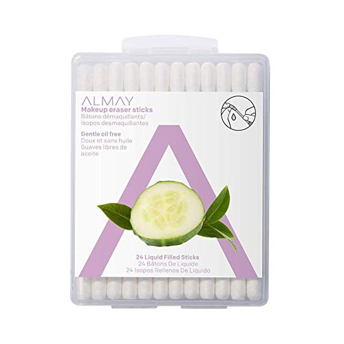 Almay Oil Free Gentle Makeup Eraser Sticks, Makeup Remover Cotton Swabs with Aloe, Hypoallergenic, Cruelty Free, Fragrance Free, Dermatologist Ophthalmologist Tested, 24 Count