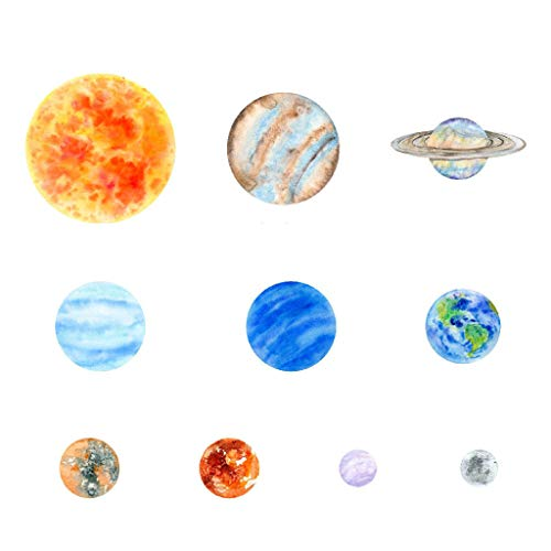 (uaswguDFS Wall Sticker Art Sticker - 10pcs Planets Glow in The Dark Wall Sticker Mural DIY Wall Vinyl Decal for Home Walls Ceiling Boys Room Kids Bedroom Nursery School)