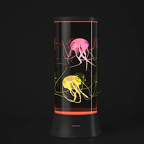 EDIER LED Fantasy Jellyfish Lava Lamp - Round Real Jellyfish Aquarium Lamp - 7 Color Setting Jellyfish Tank Mood Light - USB Jellyfish Tank Decorations for Home Office Decor Great Gifts for Kids