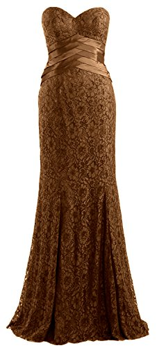 MACloth Women Mermaid Strapless Lace Evening Gown Wedding Party Formal Dress Marrón