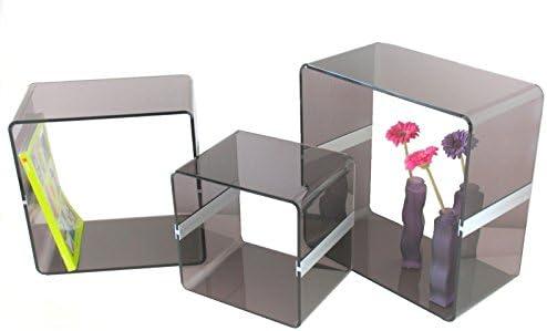 YELLOO Juego 3 Cubos Mesas Diseño Mesa Muebles para salón Tienda Bar 0922 Fume: Amazon.es: Hogar