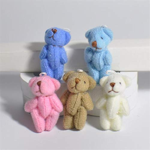EXTOY Wholesale 100Pc/Lot 3.5Cm/4.5Cm Mini Joint Bear Teddy Bear Doll Cell Phone Pendant ,Mini Joint Plush Keychain Bear Bouquet Toy Must Have Kids Items Friendship Gifts Toddler Favourite from EXTOY