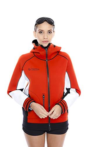 Fleece Hooded Wetsuit - Unisex PRO Neoprene Jacket Wetsuit Hoodie - Waterproof Wind Sailing Fishing Surf Jackets for Men and Women (Red, M, DH)