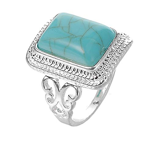 Twinsmall Fashion Ring, Women's Fashion Cubic Zircon Synthetic-Turquoise Ring Ring with Red Synthetic-Turquoise Stone (Green, 10)