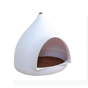 Casas De Gatos Cueva De Gatos De Diseño Simple para Mascotas, Fácil De Limpiar Condominios Desmontables para Gatos Blanco Marfil 19.6X 20.4 Pulgadas: ...