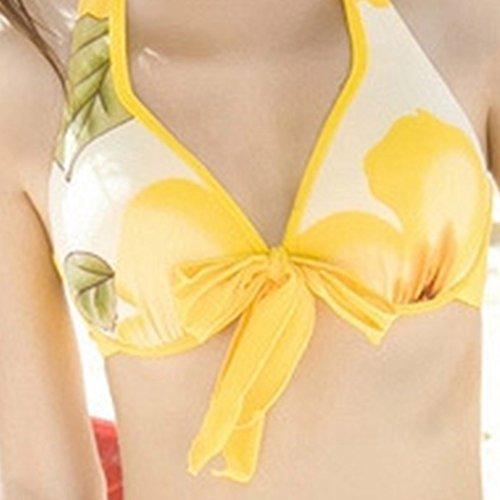 iBaste Swimwera Mujer Flores Impresas 4 Piezas Traje de Baño Split