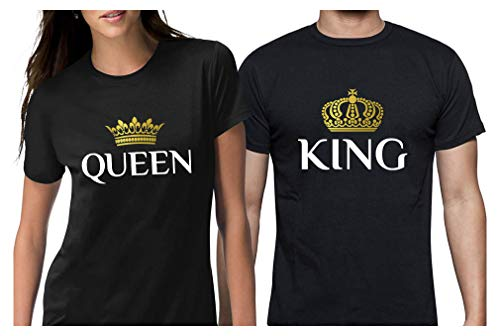 King & Queen Matching Couple Set His & Hers T-Shirt Men Large/Women Medium Black