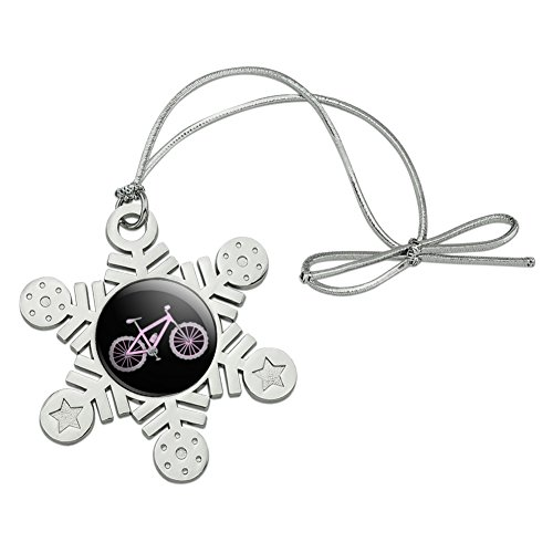 Graphics and More Pink Pedaler Mountain Bike Bicycle Metal Snowflake Christmas Tree Holiday Ornament (Bicycle Ornament Holiday)