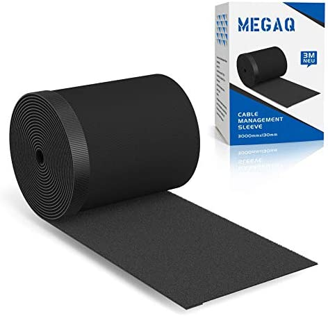 Cable Management Sleeves,MEGAQ Cable Tidy Cuttable Nylon Cord Management Organizer System,3000mm130mm,DIY by means of Yourself, Adjustable Reversible Wires Sleeve,Black