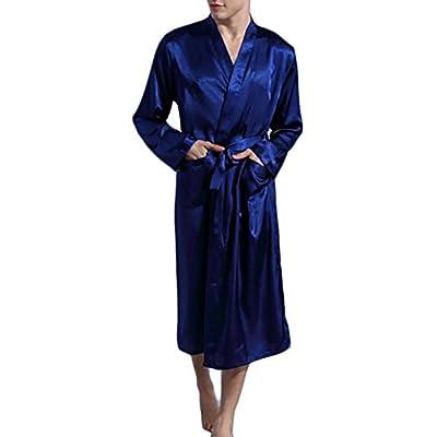 Papijam Mens Fashion Satin Robe Long Sleeve Loungewear Ice Bathrobe supplier