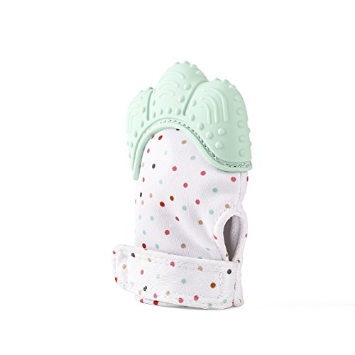 Baby Teether Mitten, S-World Kee Like Teething Toys for Teething Ring Provides Self-Soothing Fun- Ideal for Baby Shower Gift (Mint Green)
