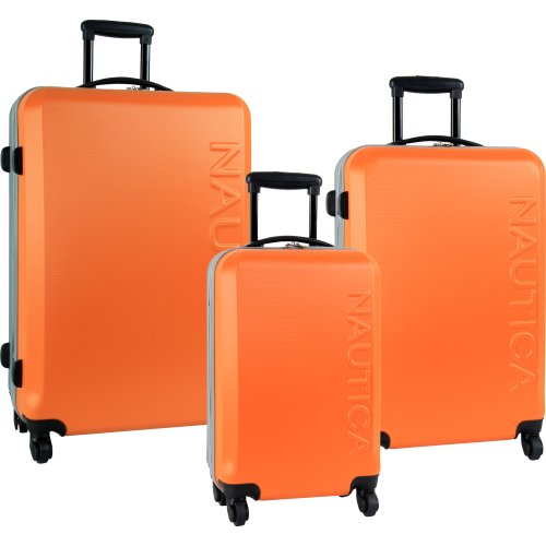 Nautica 3 Piece Hardside 4-Wheeled Luggage Set, Orange Silver