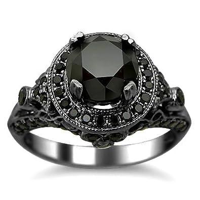 2 54ct Black Round Diamond Engagement Ring 14k Black Gold