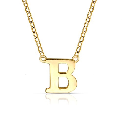 14k Gold Block - JewelryWeb Solid 14k Yellow or White Gold Delicate Trendy Polished Block Initial Pendant Necklace (16