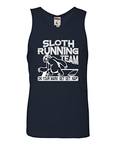 X-Large Navy Adult Sloth Running Team Funny Sloth Lovers Sleeveless Tank Top Cotton T-Shirt
