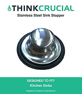 Durable Replacement Stainless Steel Sink Stopper With Rubber Gasket, Fits InSinkErator Garbage Disposals, Part # STP-SS, by Think Crucial