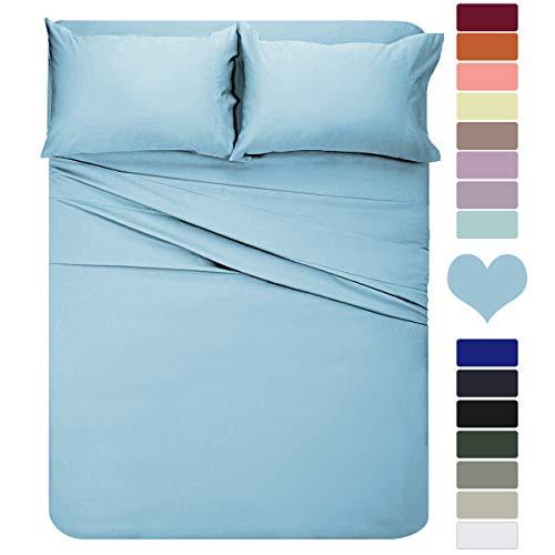 HOMEIDEAS 4 Piece Bed Sheet Set (Queen, Sky Blue) Soft Brushed Microfiber 1800 Bedding Sheets - Deep Pockets, Hypoallergenic, Wrinkle & Fade Resistant