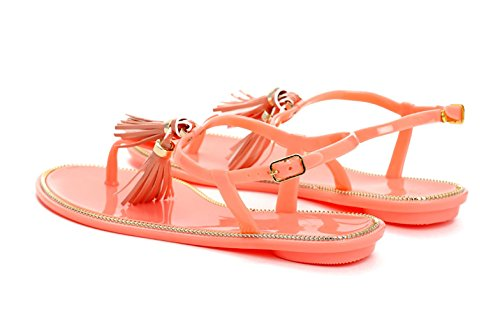 New Womens Flat Sandals Tassel Jelly Toe Post Ankle Strap Holiday Shoes Orange Gf5VZR