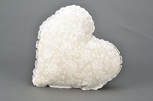 Heart-shaped Decorative Handmade Pillow Made of Fabric and Lace White Rose Home Design Ideas