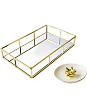 EZDC Gold Tray, Mirror Tray, Perfume Tray for Dresser, 12 x 7.5¡¨ Rectangular Mirrored Tray for Vanity, Minimalistic Gold Vanity Tray with Ceramic Ring Dish (Gold)¡K