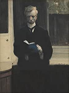 Cotton Canvas ,the Imitations Art DecorativePrints on Canvas of oil painting 'Leon Spilliaert - Self Portrait with Blue Sketchbook, 1907', 24x32 inch / 61x82 cm is best for Bedroom decor and Home decor and Gifts