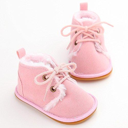 Baby Winter Warme Schuhe, Auxma Kleinkind Säuglings Schnee Stiefel Schuhe Prewalker Krippe Schuhe Krabbelschuhe (11(0-6M), Braun) Rosa