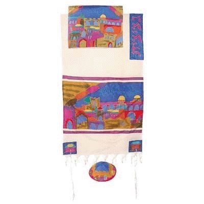 Jerusalem Gate in Color Cotton and Silk Tallit Prayer Shawl Set - by Yair Emanuel - Size 21