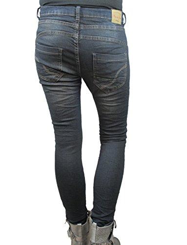 Du Donna Larghi Scuro Jeans Luogo Pantaloni Denim Ragazzo Bottoni Jour Stretch Placedujour 51qUXw7