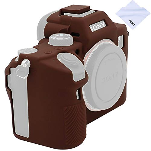 Yisau Sony A7iii A7Riii A7siii Case, Professional Silicone Rubber Case Cover Coverable Protective for Sony Alpha A7 iii A7r iii A7siii Camera + Microfiber Cloth (Coffee)