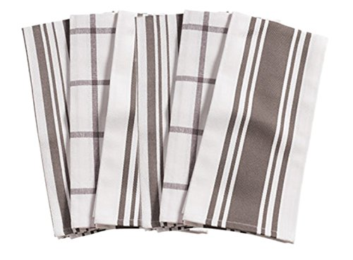 KAF Home Kitchen Towels, Set of 6, Pewter & White, 100% Cotton, Machine Washable, Ultra Absorbent (European Towel White)