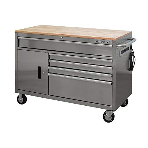 - Husky 52 in. 5-Drawer 1-Door Mobile Workbench in Stainless Steel