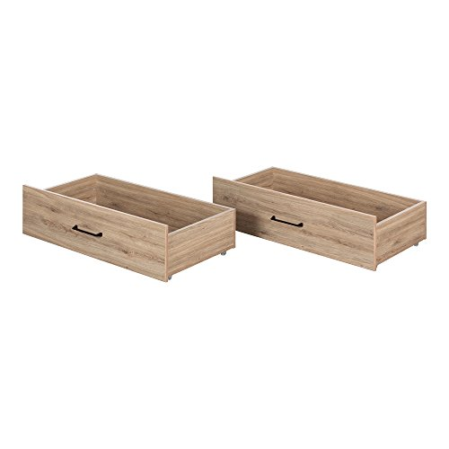 South Shore 11028 Fakto Set of 2 Drawers on Wheels, Rustic Oak
