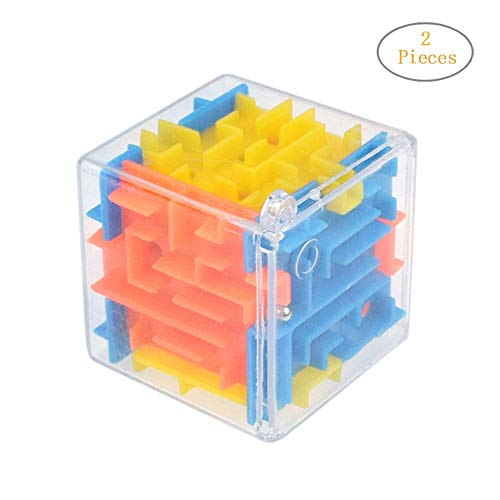 uzzle Box - 3D Cube Puzzle Maze Case Toy - Fun Brain Game for Ingenuity Training and Stress Relief - Great Gift for Birthday and Kids (Multicolor, 2 Pcs) ()