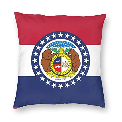 SARA NELL Velvet Throw Pillow Cases,Missouri Flag,Pillow Covers Decorative 18x18 in Pillowcase Cushion Covers with Zipper