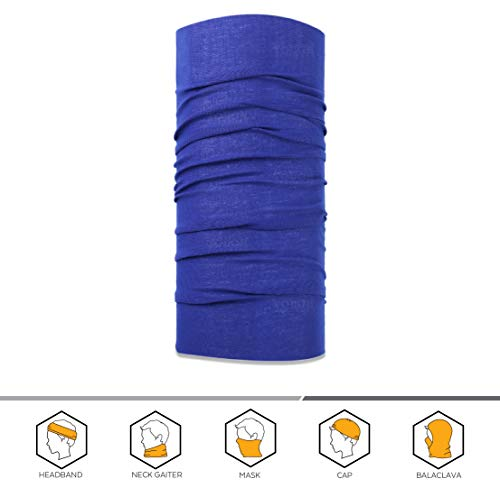 Blue Wear Neck (12-in-1 Headband [Solids] - Versatile Sports & Casual Headwear - Wear as a Bandana Neck Gaiter Balaclava Helmet Liner Mask & More. Constructed with High Performance Moisture Wicking Microfiber Navy Blue)