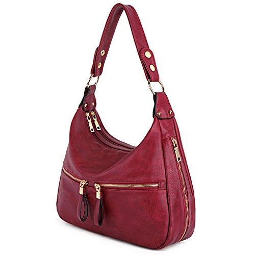 PU Hobo Bag Leather Handbag Style Red Purse UTO Shoulder Women Pocket Zipper Ay0EOyZwq