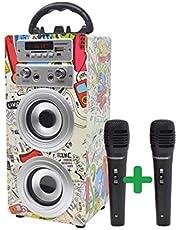 DYNASONIC - Przenośny głośnik Bluetooth do karaoke z 2 mikrofonami, czytnik USB i SD, model radia FM