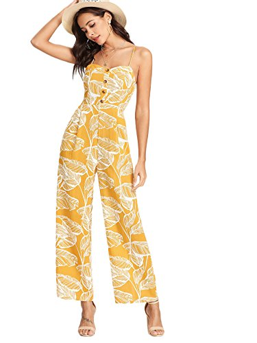 Floerns Women's Palm Leaf Print Shirred Back Button Cami Palazzo Jumpsuit Yellow M