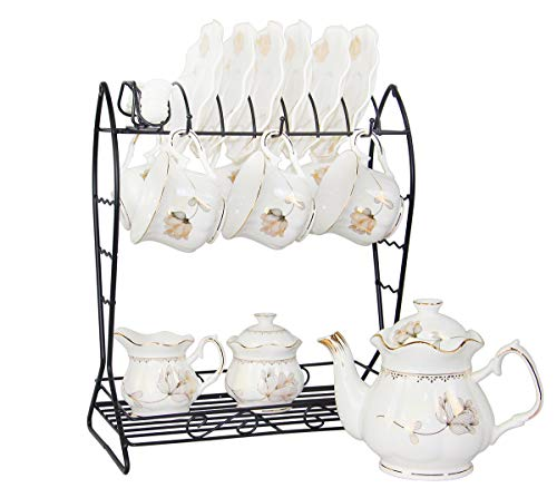 21-Piece Porcelain Ceramic Tea Gift Set with Metal Holder, Coffee Service Set with Cups, Saucers, Teapot, Sugar Bowl and Creamer