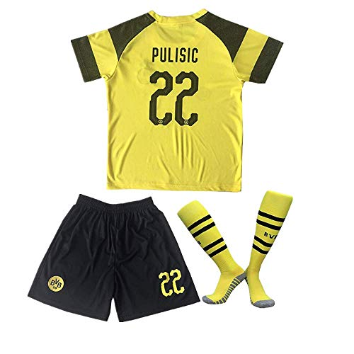 Borussia Dortmund 18/19 Home #22 Christian Pulisic Kids/Youth Soccer Jersey & Shorts & Socks Color Yellow 11-12Years/26 - Dortmund Borussia Shirt