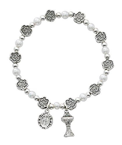 (White Glass Bead and Silver Tone Flower Bead First Communion Bracelet with Charms, 7 Inch)